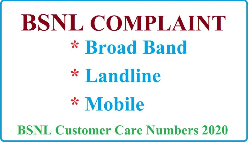 BSNL Complaint Broadband Landline Customer Care Number