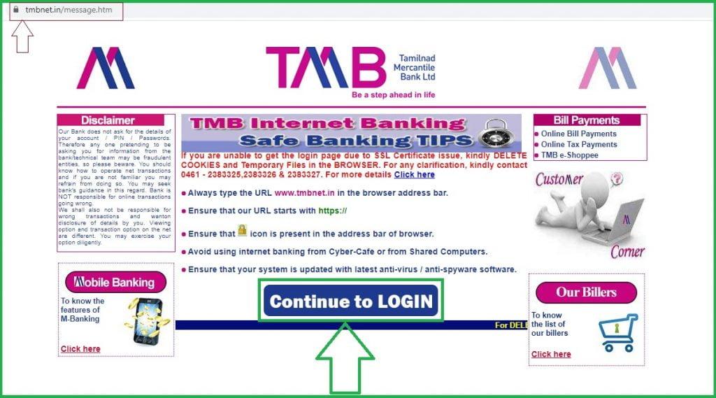 tmb net banking register