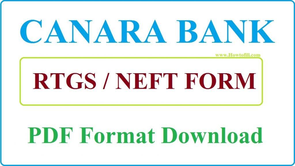 Canara Bank RTGS form