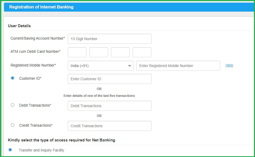 Canara bank net banking registration
