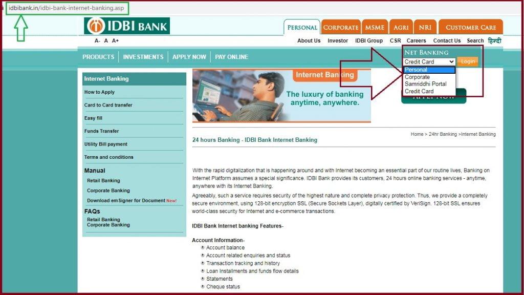 IDBI Net Banking Corporate credit card login