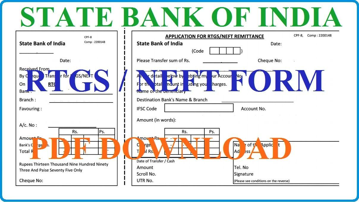 SBI RTGS / NEFT Form Download