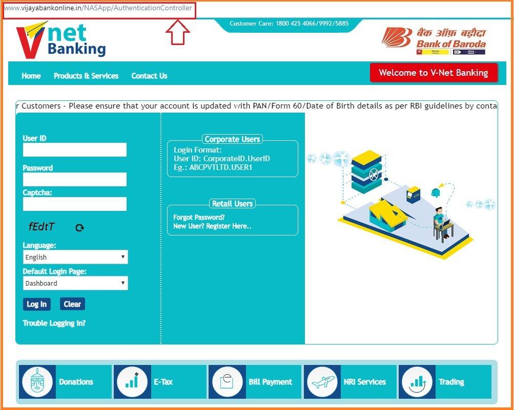 Vijaya Bank Net banking login