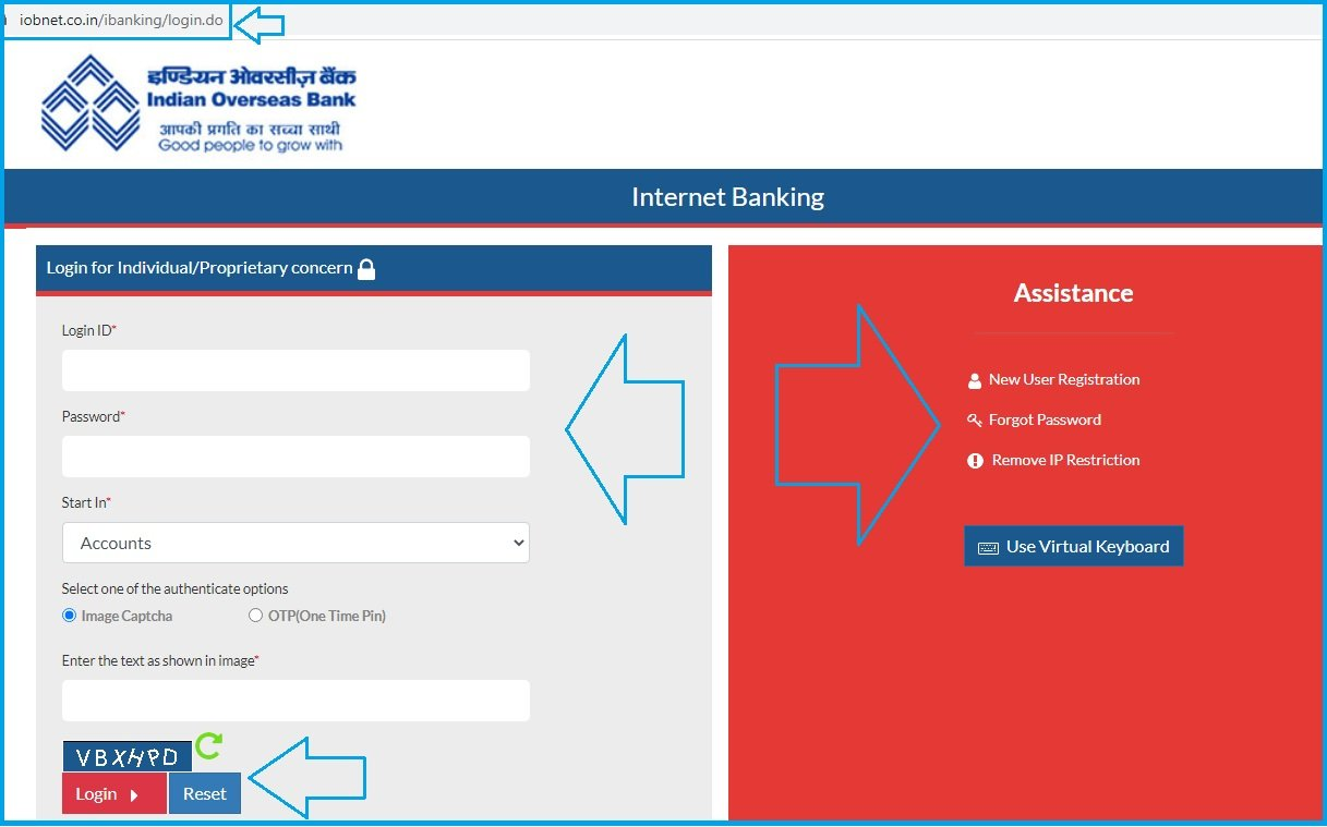 iob internet banking