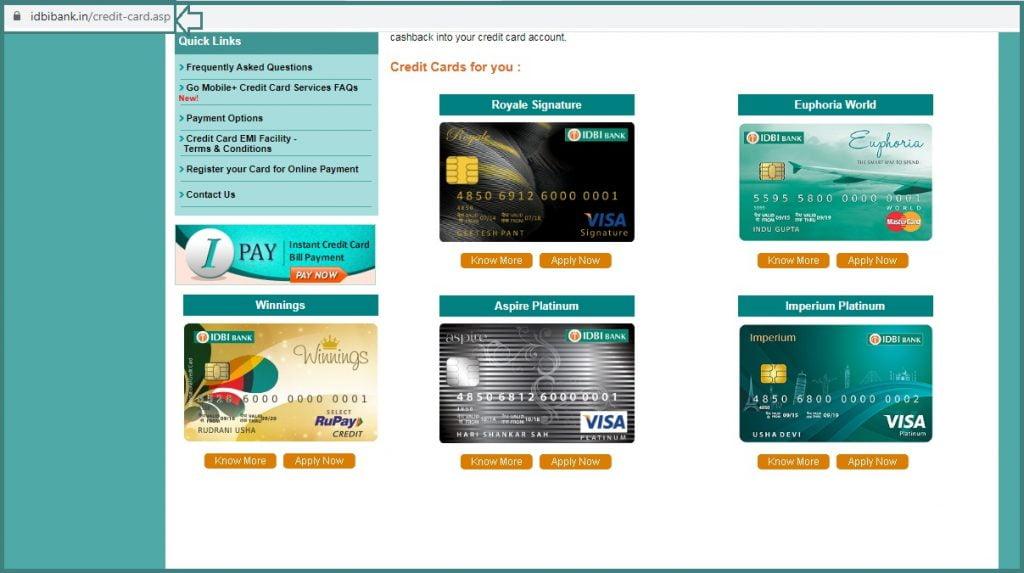 IDBI Credit Card Statement