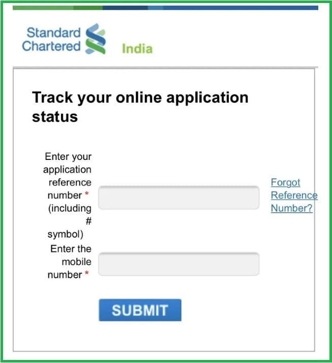 Standard Chartered Credit Card Application Status
