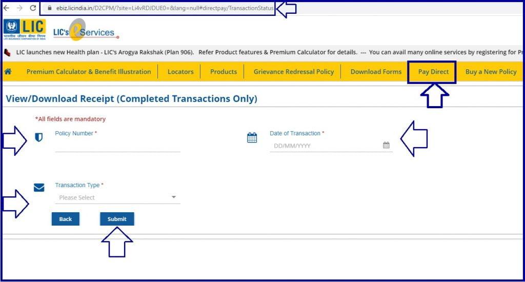 LIC Premium Paid Certificate