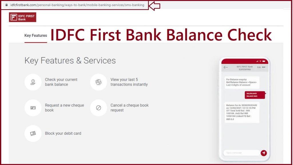 idfc first bank balance check